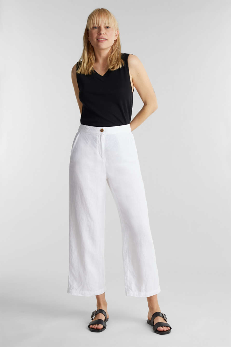 Made of linen: basic culottes, WHITE, detail image number 1