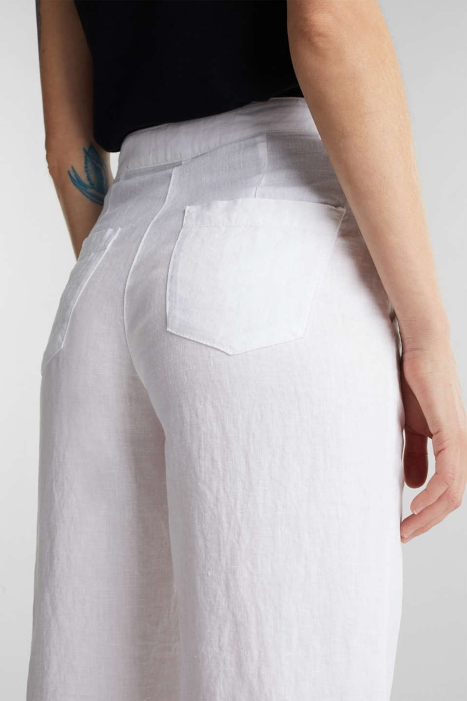 Made of linen: basic culottes, WHITE, detail image number 5
