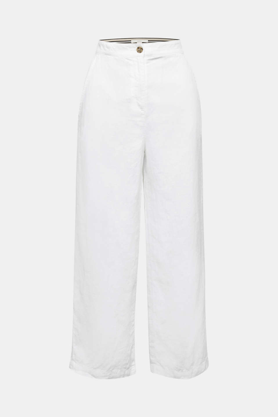 Made of linen: basic culottes, WHITE, detail image number 7