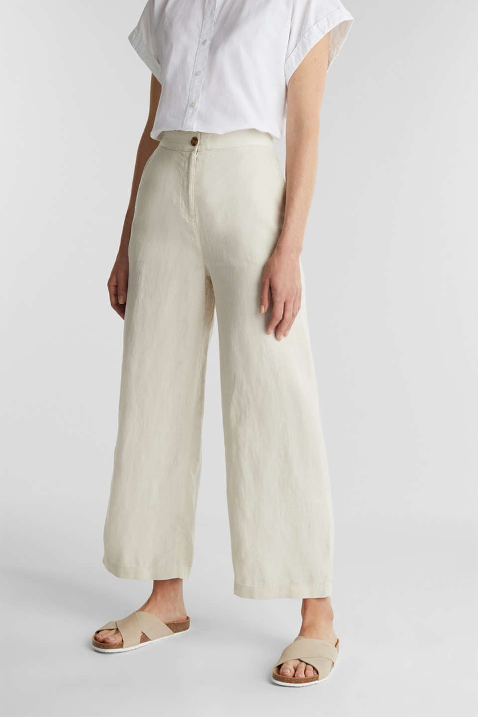 Esprit - Made of linen: basic culottes