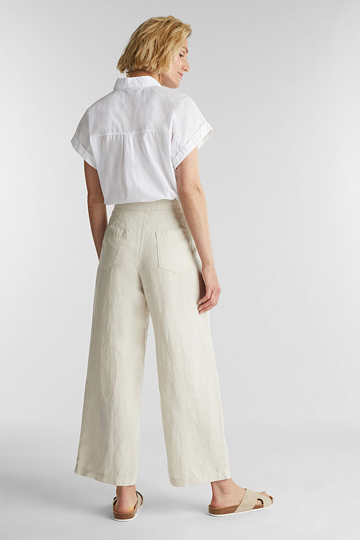 Made of linen: basic culottes, SAND, detail image number 3