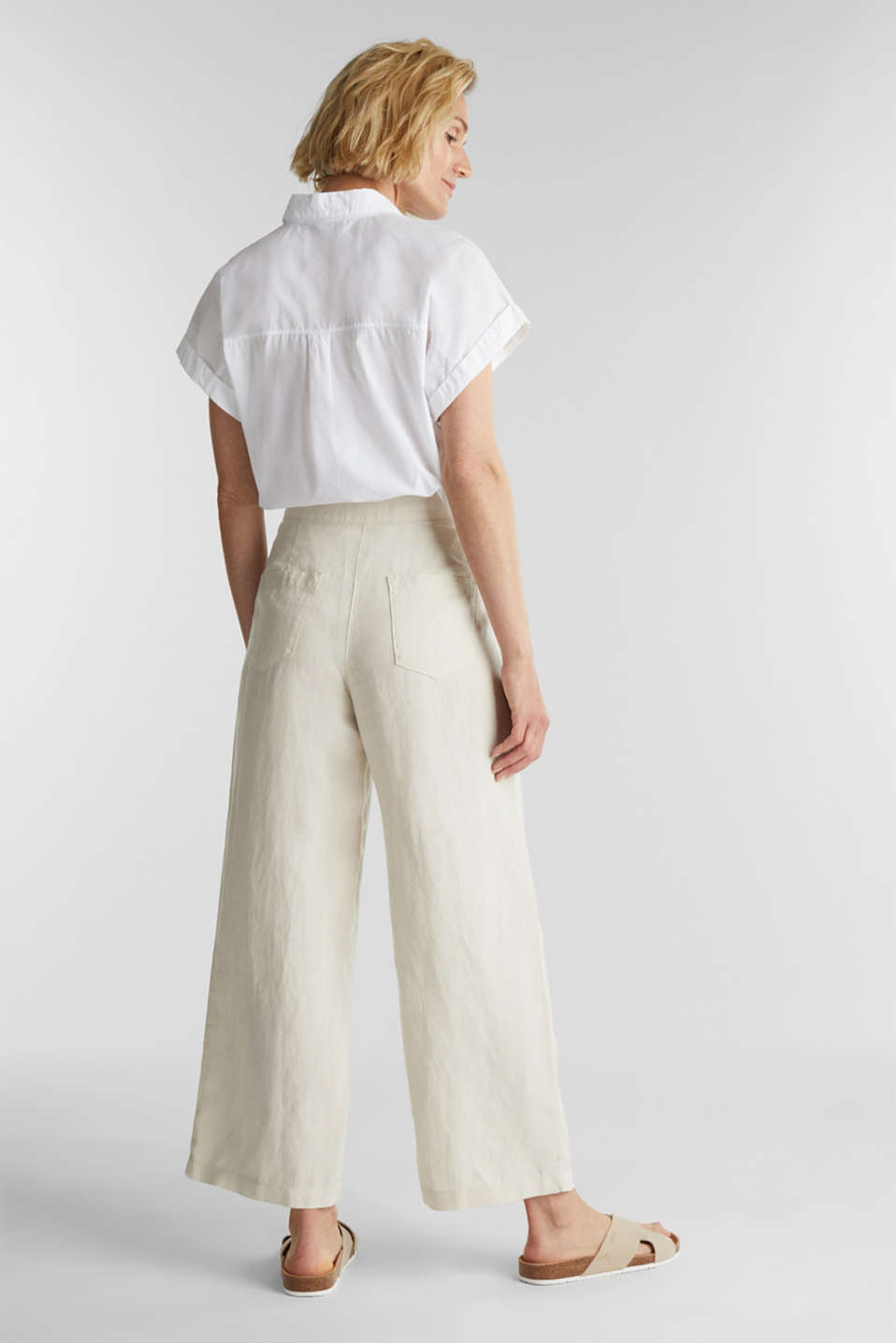 Made of linen: basic culottes, SAND, detail image number 2