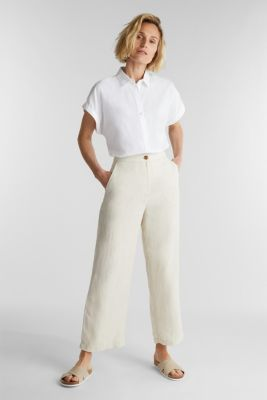 Made of linen: basic culottes, SAND, detail