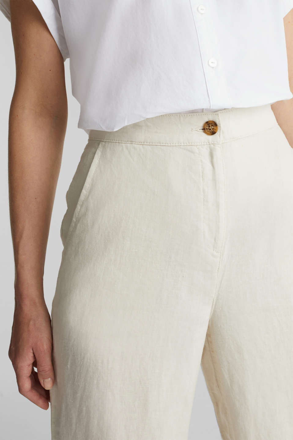 Made of linen: basic culottes, SAND, detail image number 1