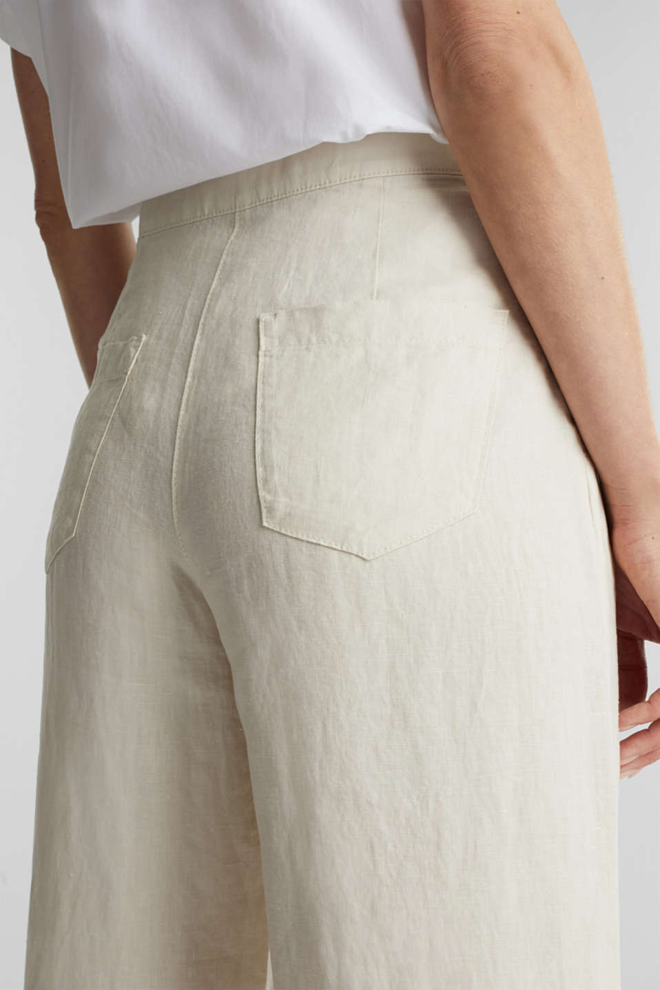 Made of linen: basic culottes, SAND, detail image number 4