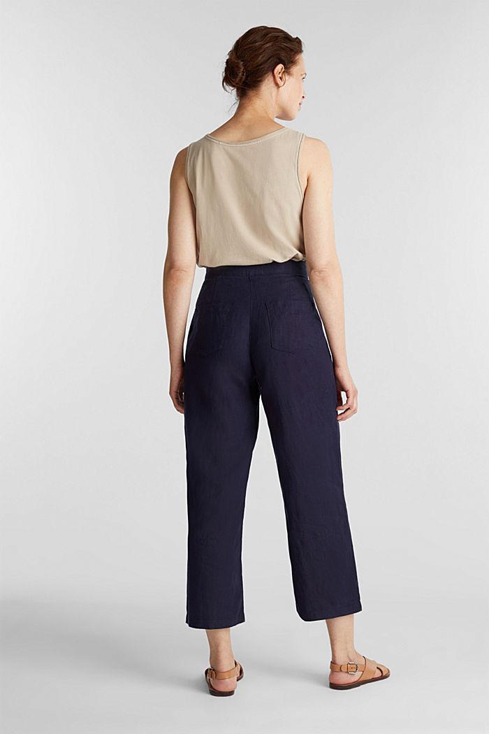 En lino: pantalón culotte de estilo básico, NAVY, detail image number 3