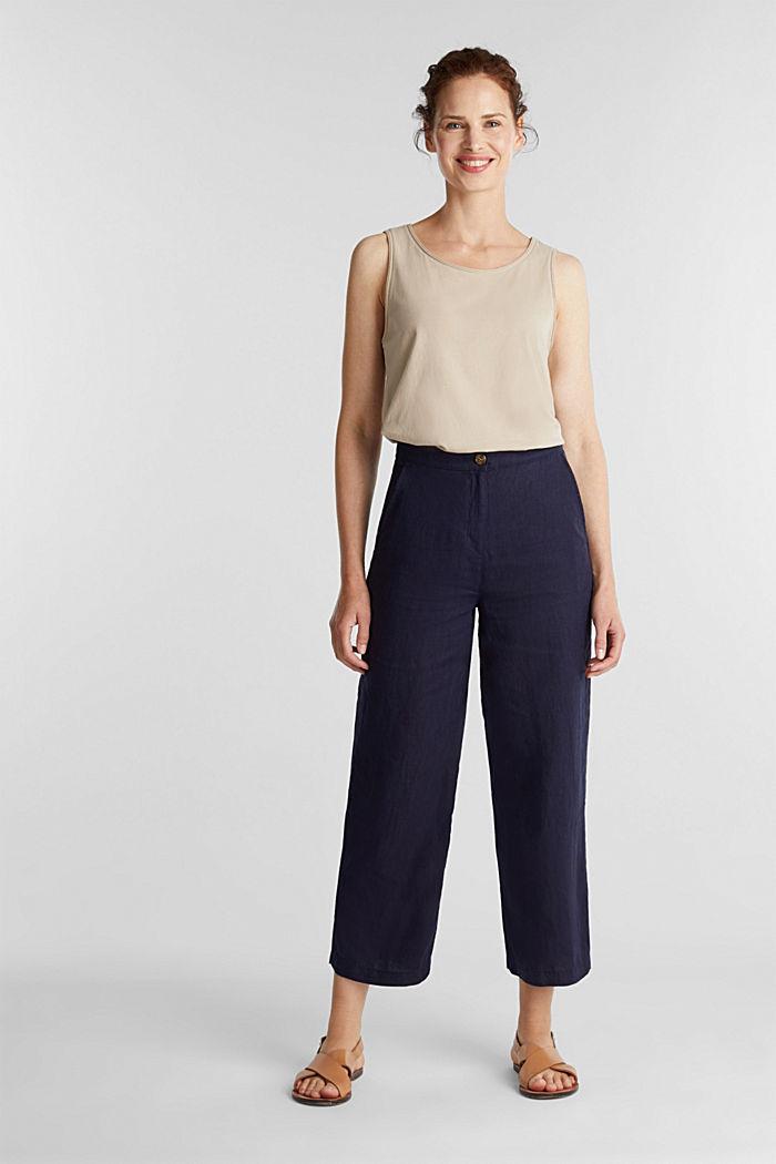 En lino: pantalón culotte de estilo básico, NAVY, detail image number 1