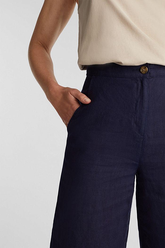 En lino: pantalón culotte de estilo básico, NAVY, detail image number 2