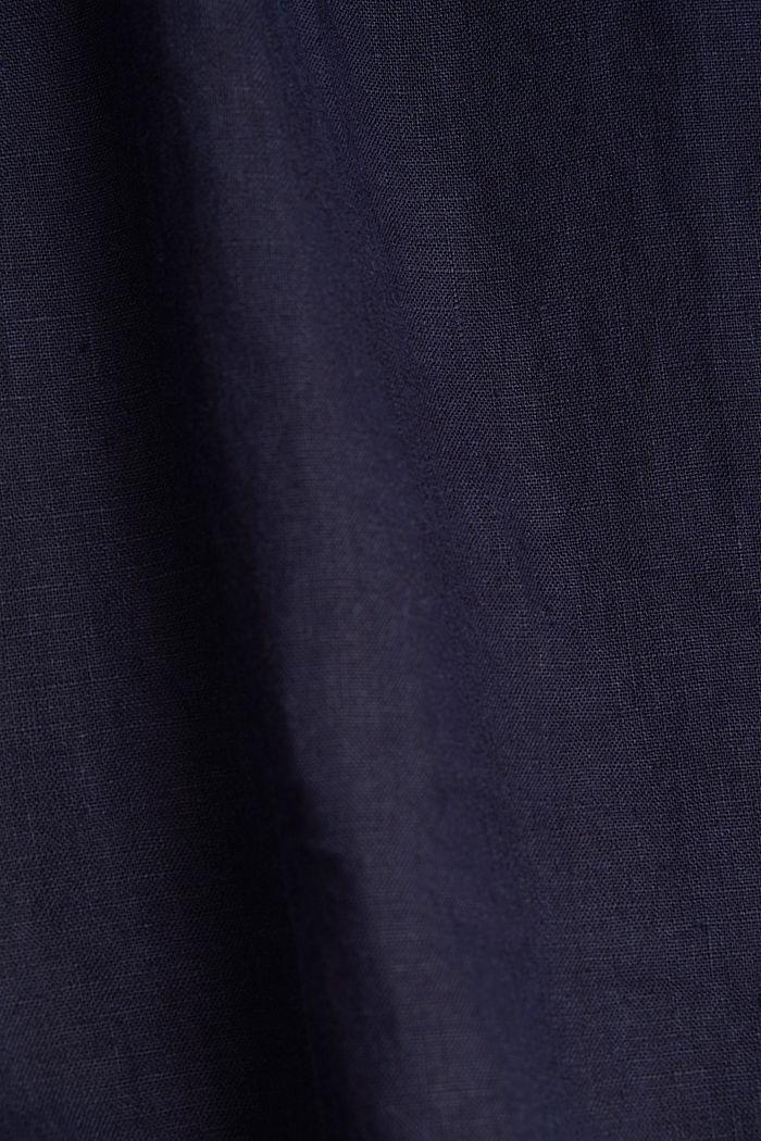 En lino: pantalón culotte de estilo básico, NAVY, detail image number 4