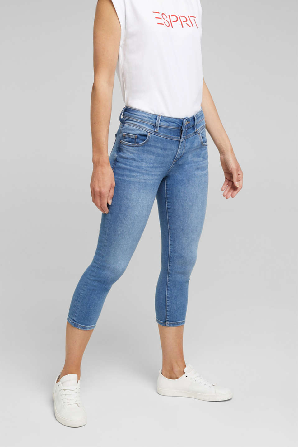 Esprit - 7/8-length jeans with organic cotton