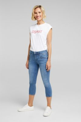 7/8-length jeans with organic cotton, BLUE MEDIUM WASH, detail