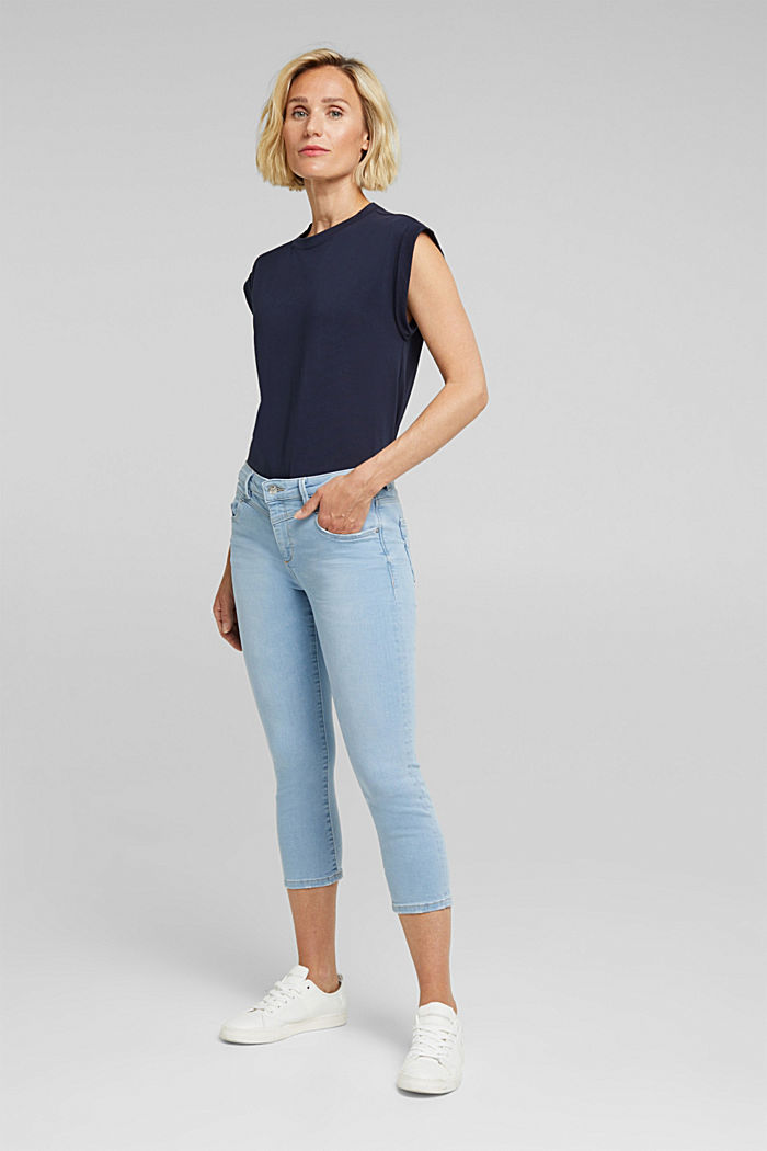 7/8-length jeans with organic cotton, BLUE LIGHT WASHED, detail image number 1