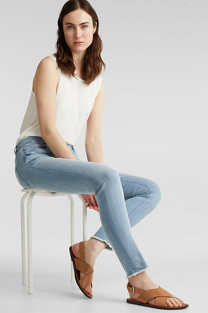 Ankle-length jeans with frayed leg openings, BLUE BLEACHED, detail image number 0