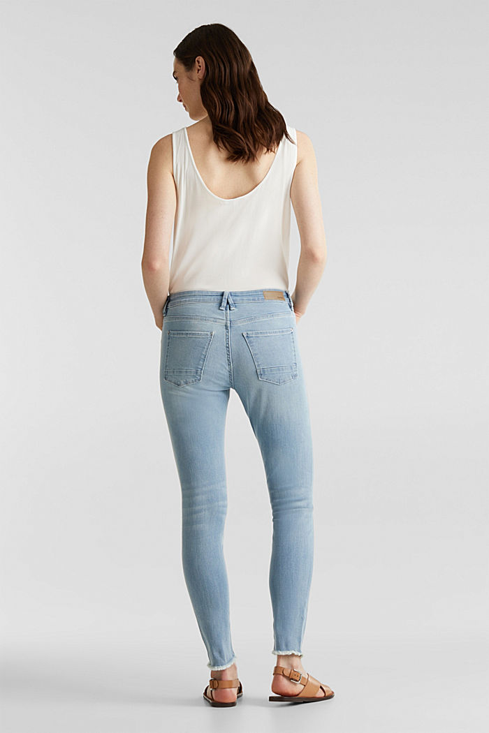 Ankle-length jeans with frayed leg openings, BLUE BLEACHED, detail image number 3