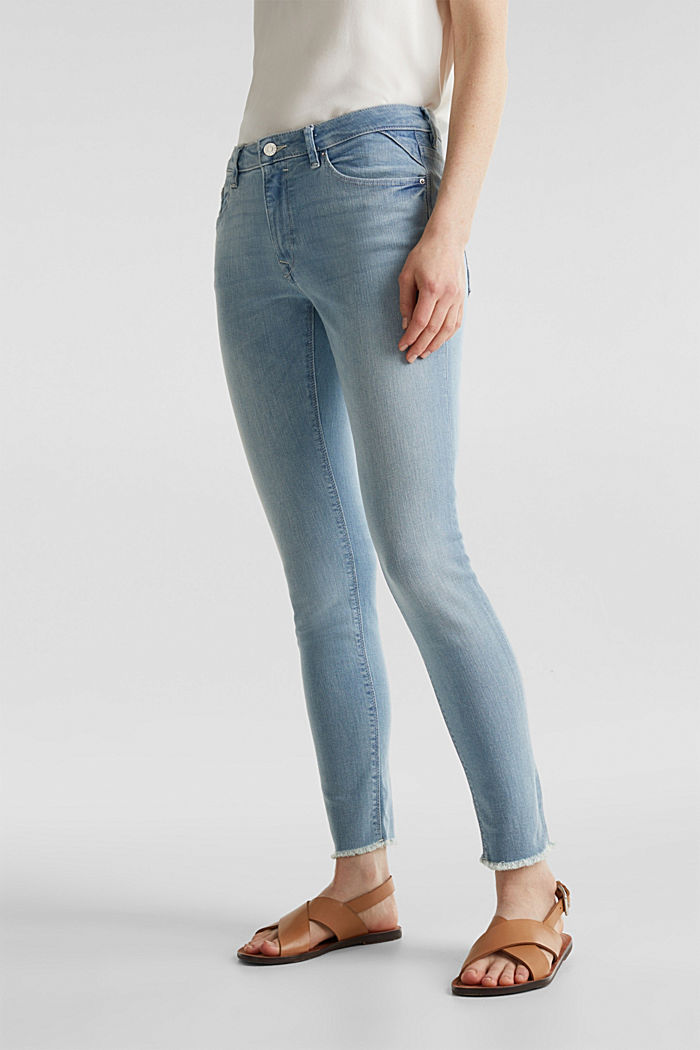 Ankle-length jeans with frayed leg openings, BLUE BLEACHED, detail image number 7
