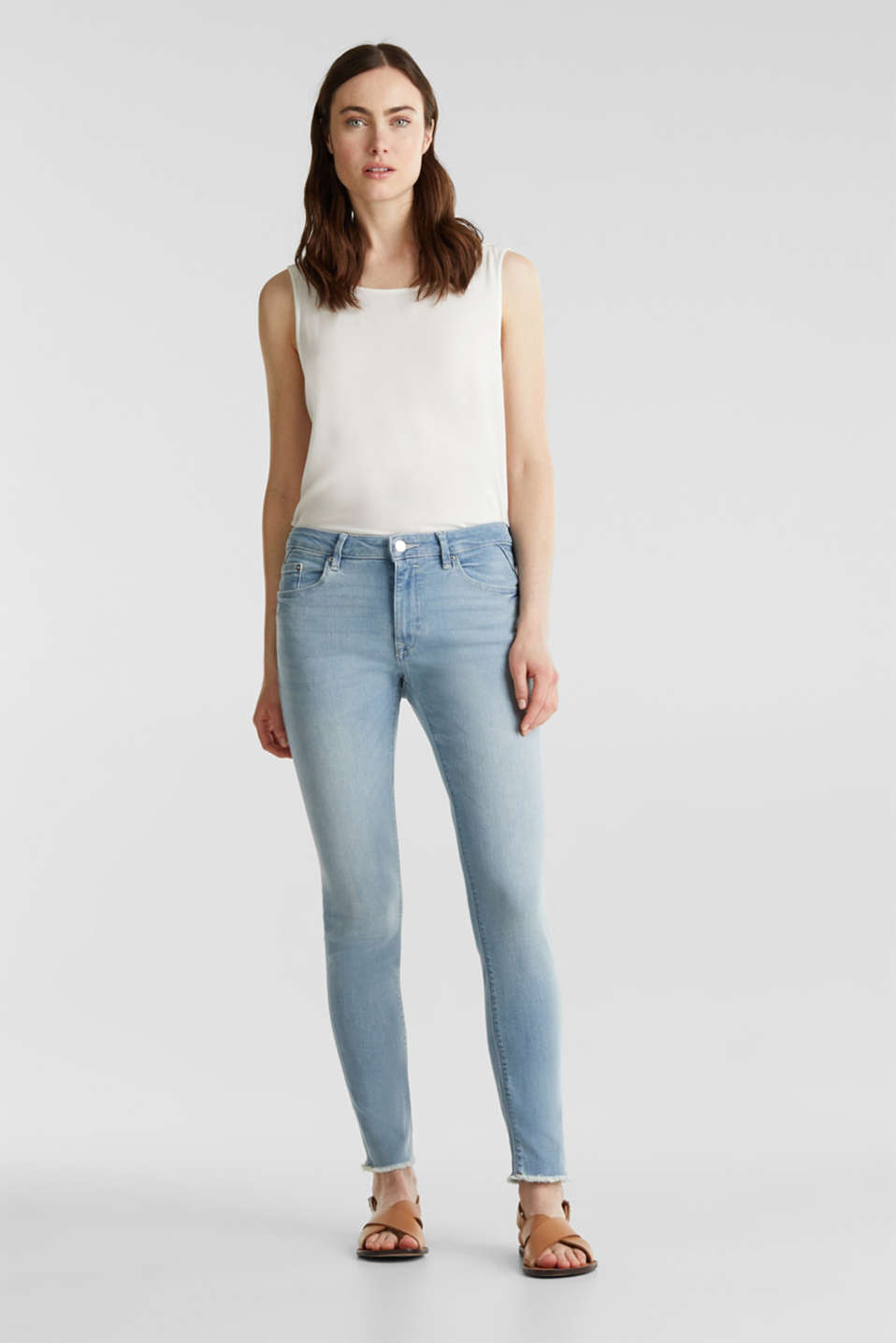 Ankle-length jeans with frayed leg openings, BLUE BLEACHED, detail image number 1