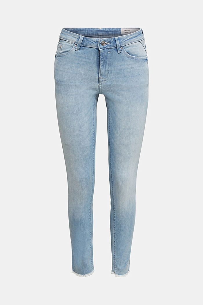 Ankle-length jeans with frayed leg openings, BLUE BLEACHED, overview