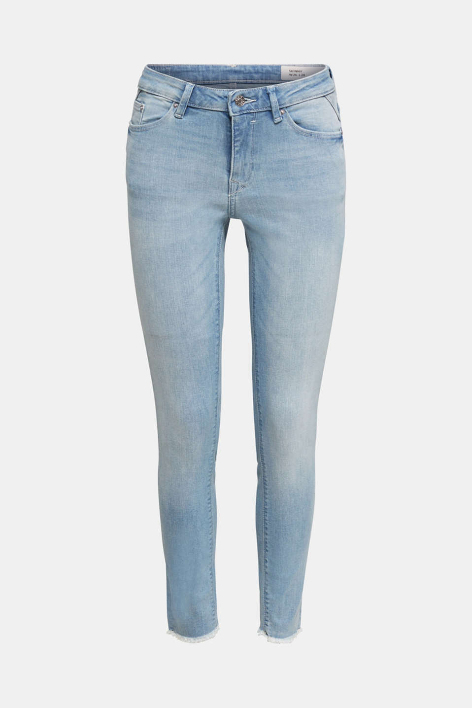 Ankle-length jeans with frayed leg openings, BLUE BLEACHED, detail image number 8
