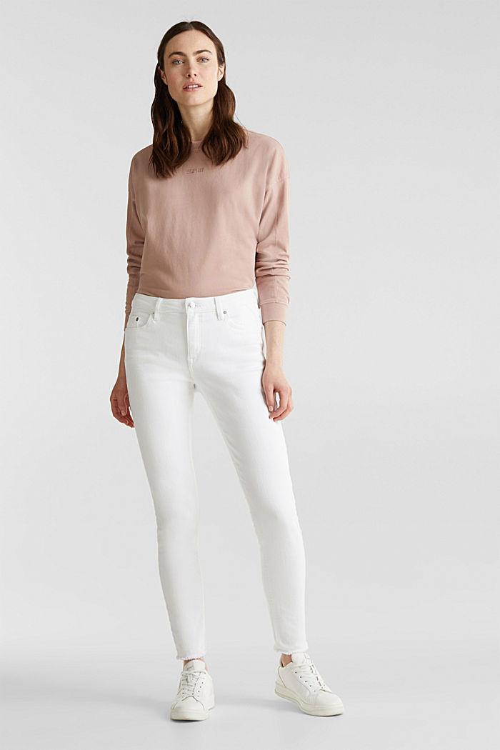 Knöchellange Jeans mit Fransensaum, WHITE, detail image number 0