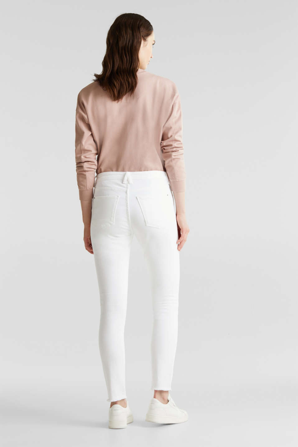 Ankle-length jeans with frayed leg openings, WHITE, detail image number 3