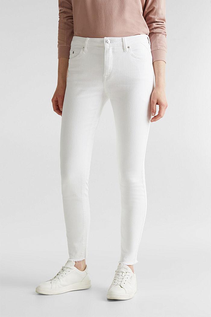 Knöchellange Jeans mit Fransensaum, WHITE, detail image number 6