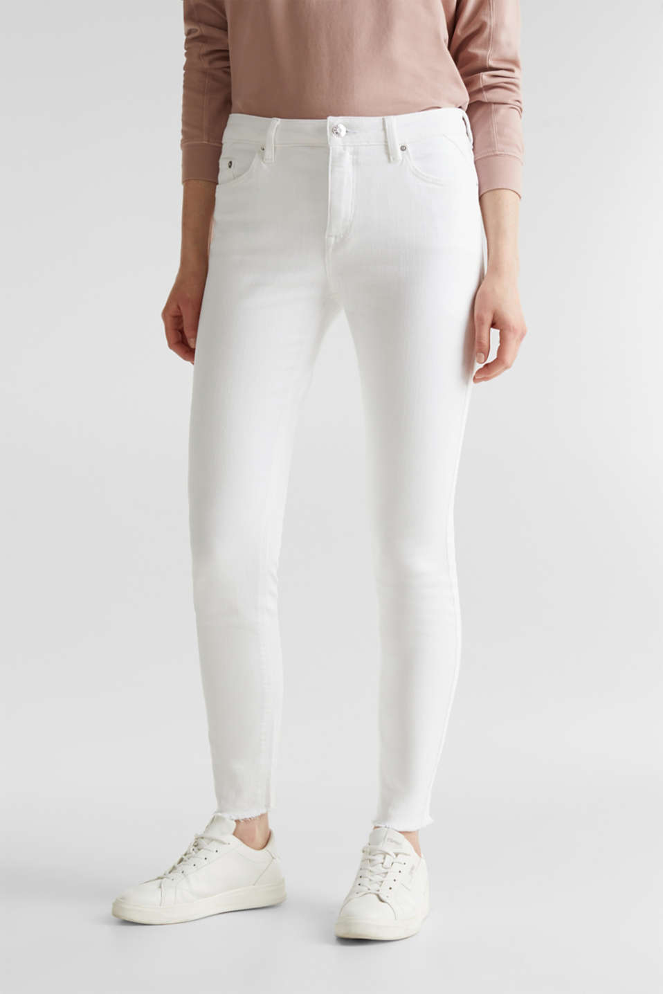 Ankle-length jeans with frayed leg openings, WHITE, detail image number 6