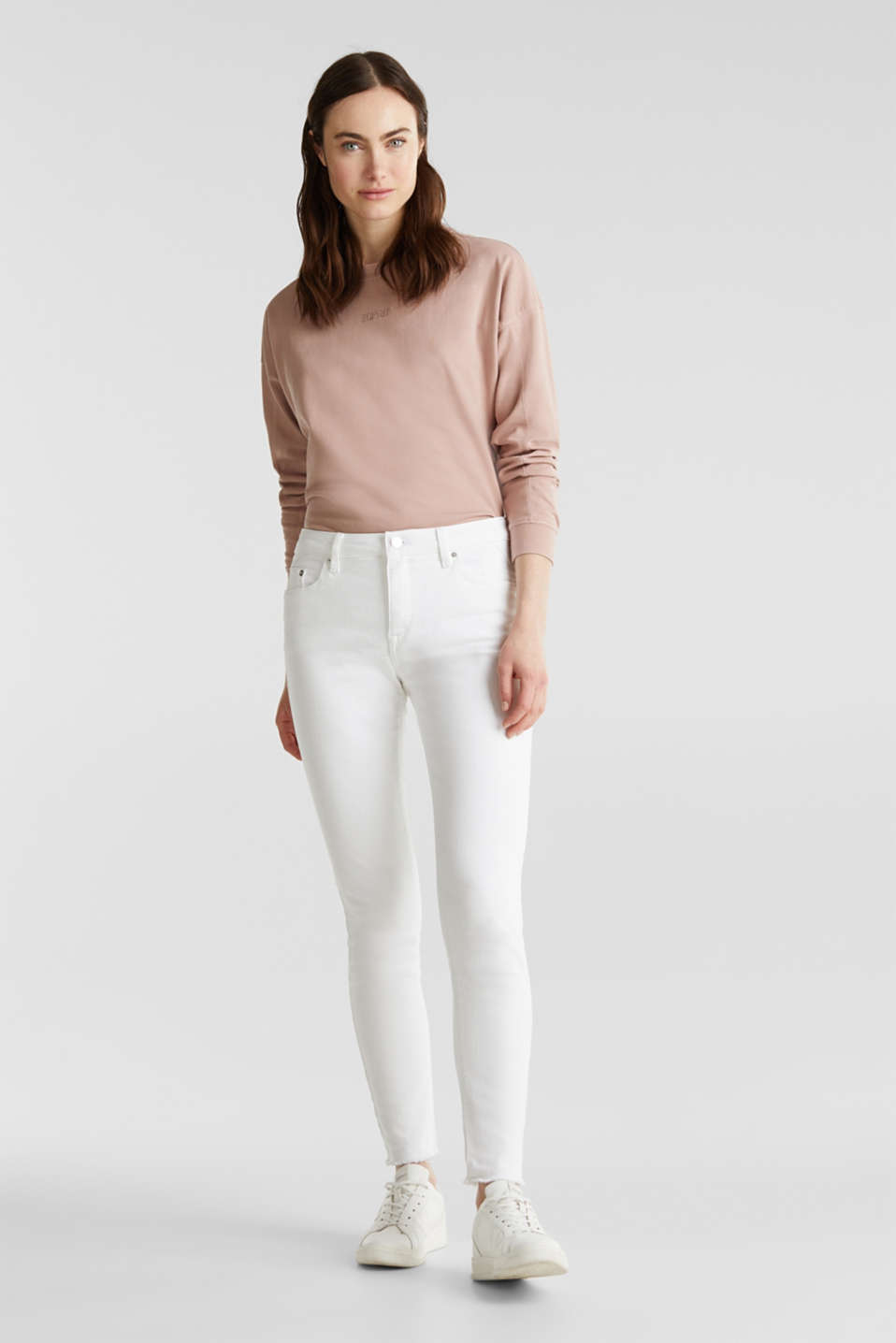 Ankle-length jeans with frayed leg openings, WHITE, detail image number 1
