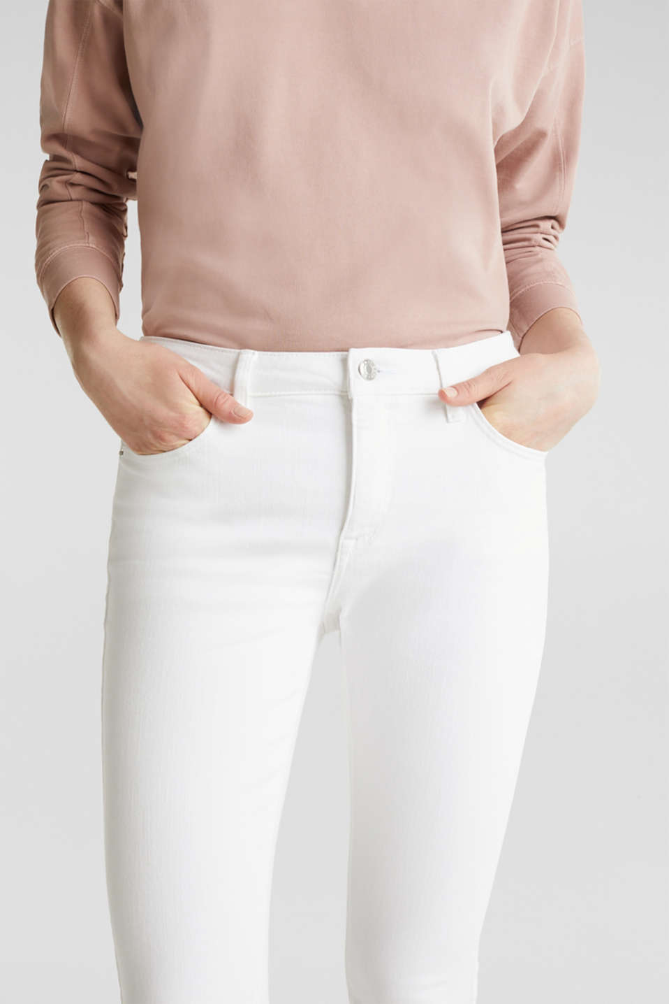 Ankle-length jeans with frayed leg openings, WHITE, detail image number 2