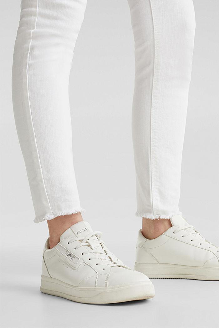 Knöchellange Jeans mit Fransensaum, WHITE, detail image number 5