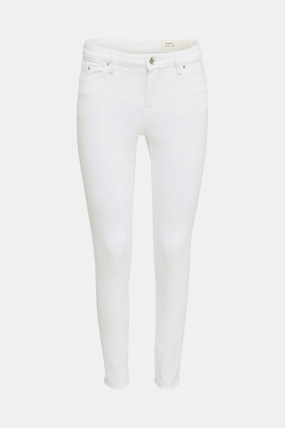 Ankle-length jeans with frayed leg openings, WHITE, detail image number 7