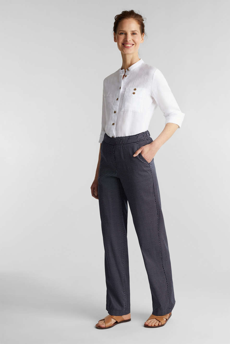 Trousers with a mixed pattern print made of TENCEL™, NAVY 3, detail image number 1