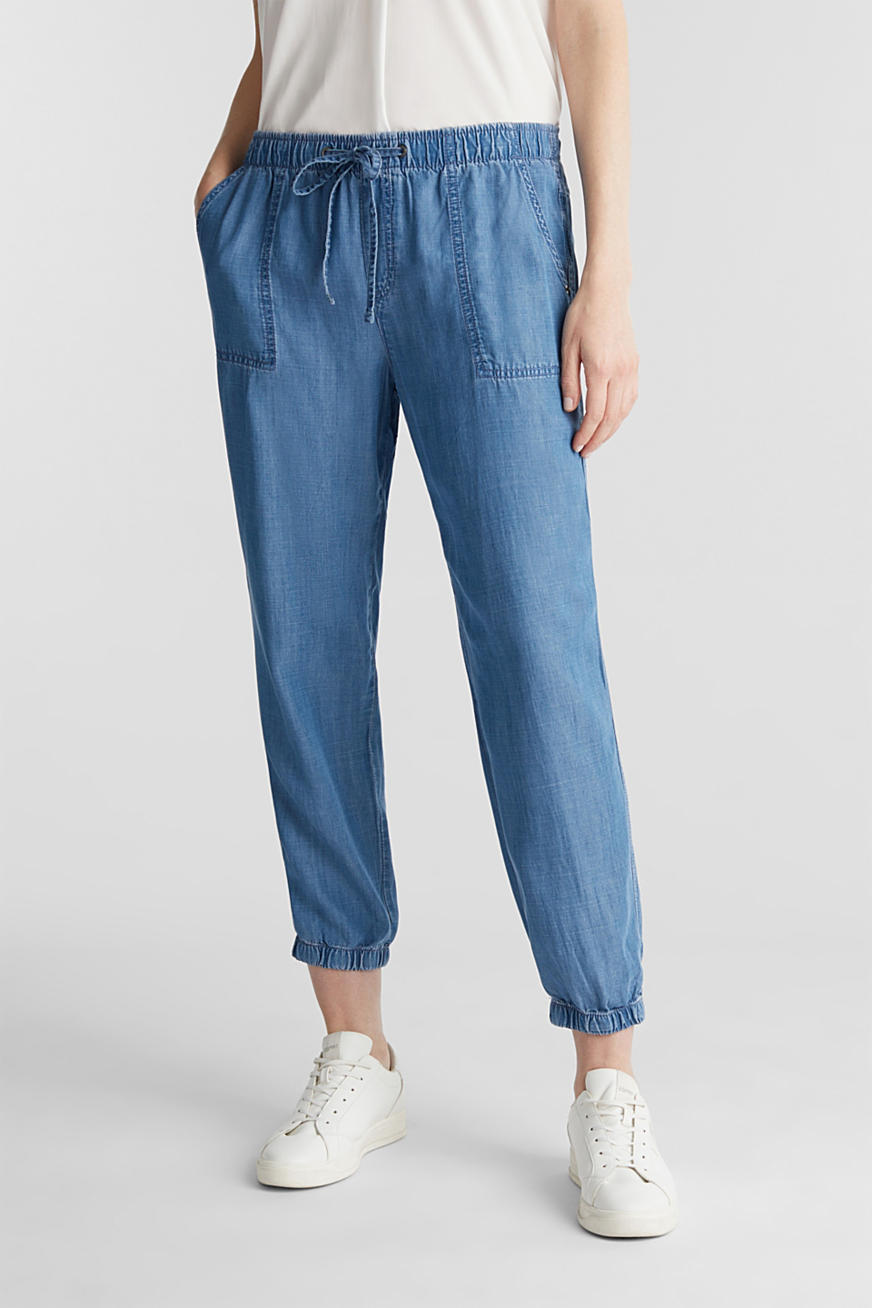 Pantaloni da jogging in denim di lyocell