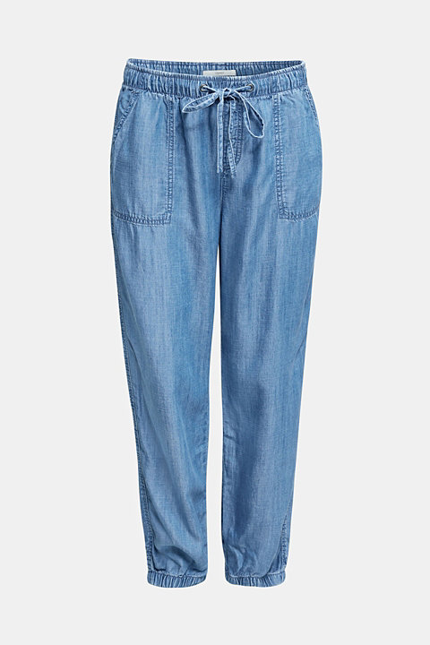 Denim tracksuit bottoms made of lyocell