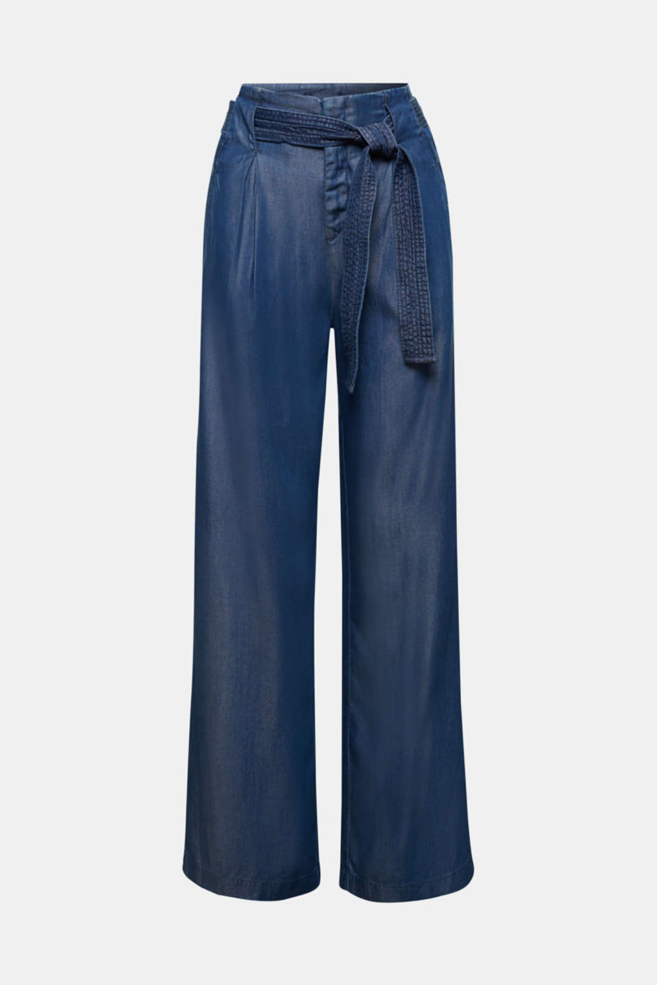 Made of TENCEL™: Trousers in a denim look, BLUE DARK WASH, detail image number 7