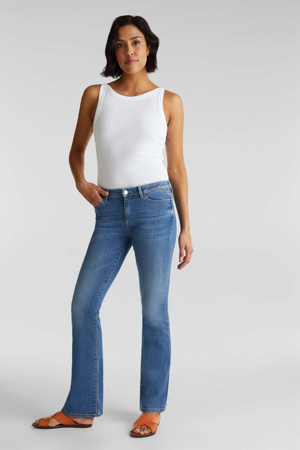 Lightweight shaping jeans, BLUE MEDIUM WASH, detail image number 0