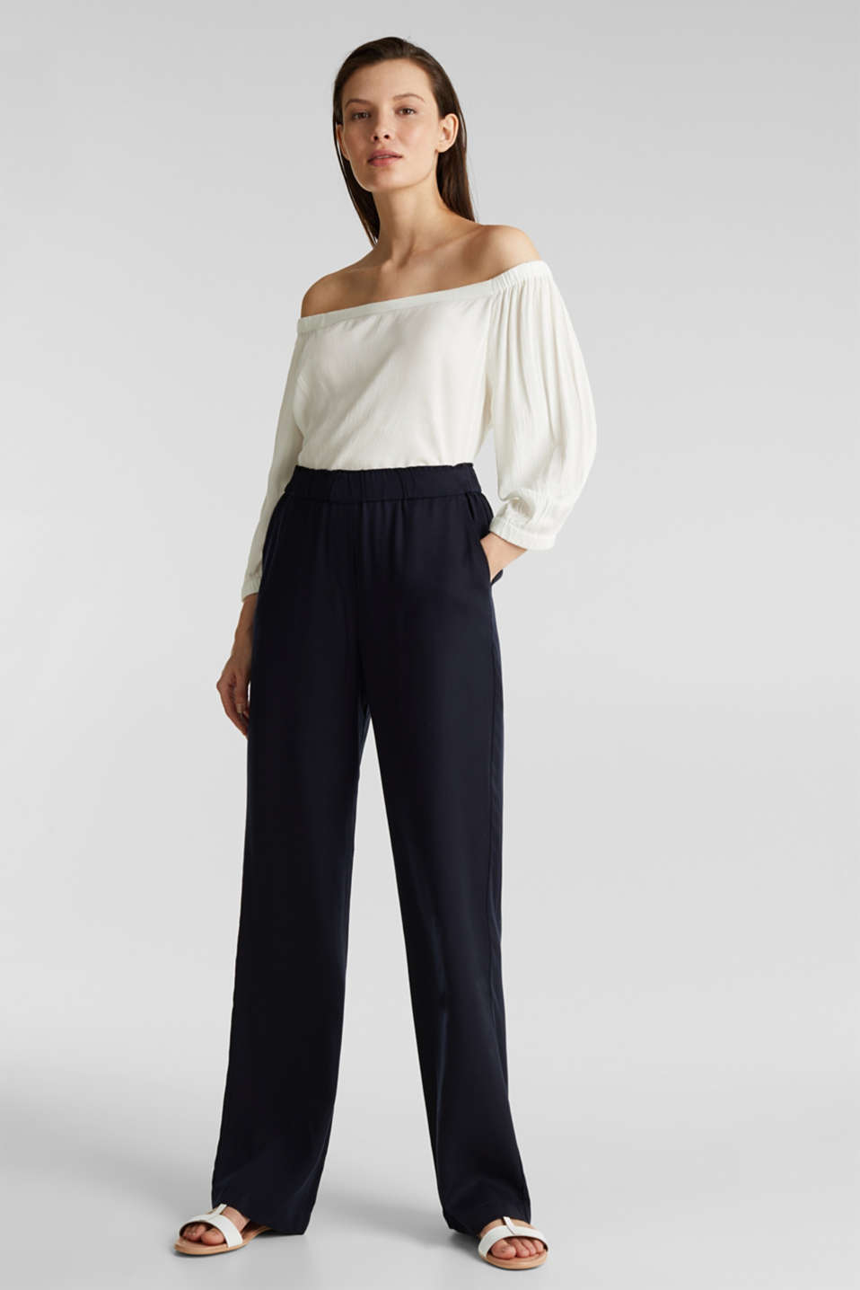 Trousers with a comfy waistband, TENCEL™, NAVY, detail image number 0