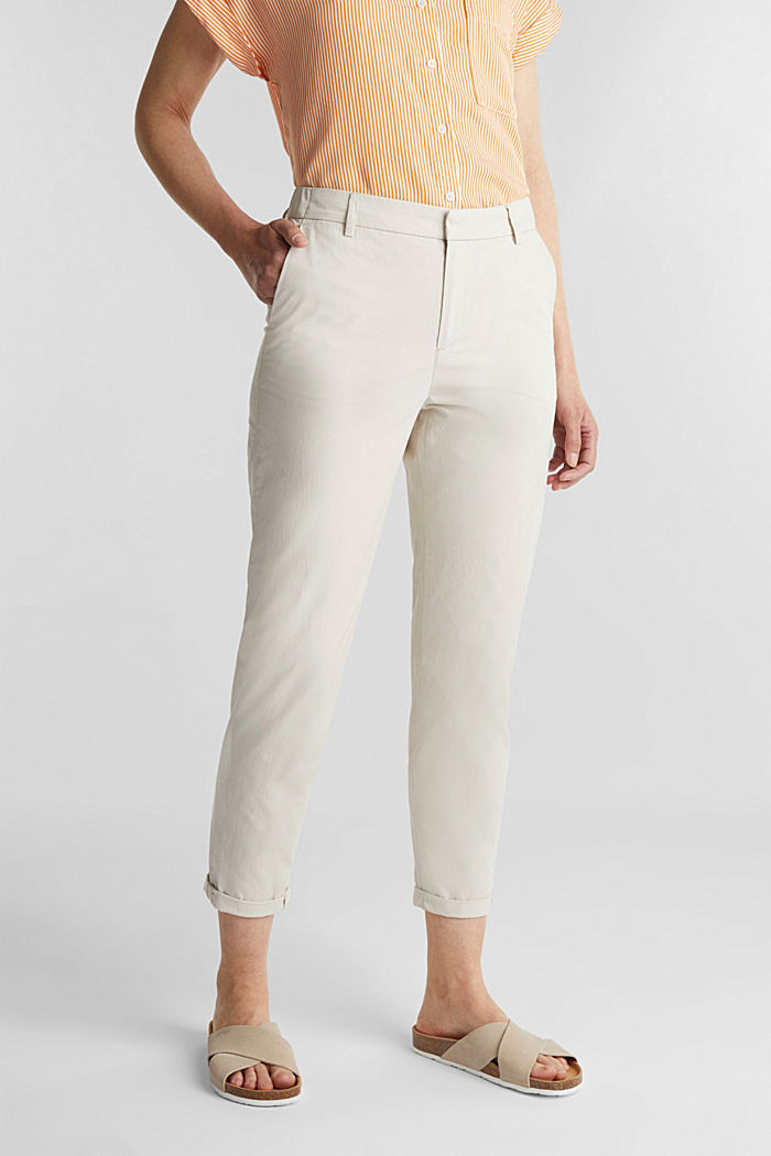 Pantalones chinos con tacto de papel, algodón ecológico, SAND, detail image number 0