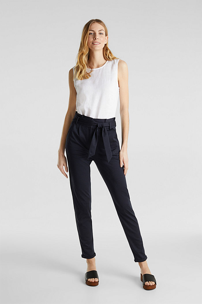 Melange trousers with paper bag waistband, NAVY, detail image number 0