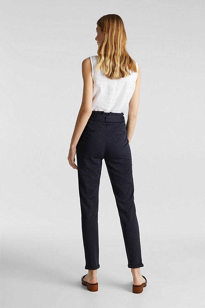 Melange trousers with paper bag waistband, NAVY, detail image number 3