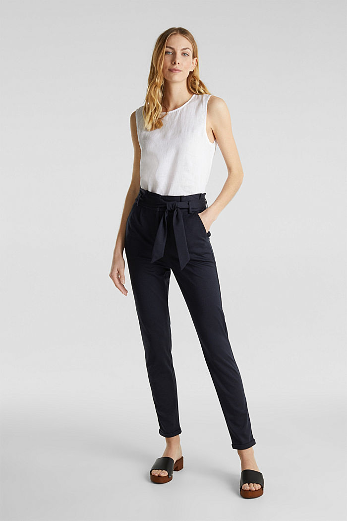 Pantalon chiné à taille paper bag