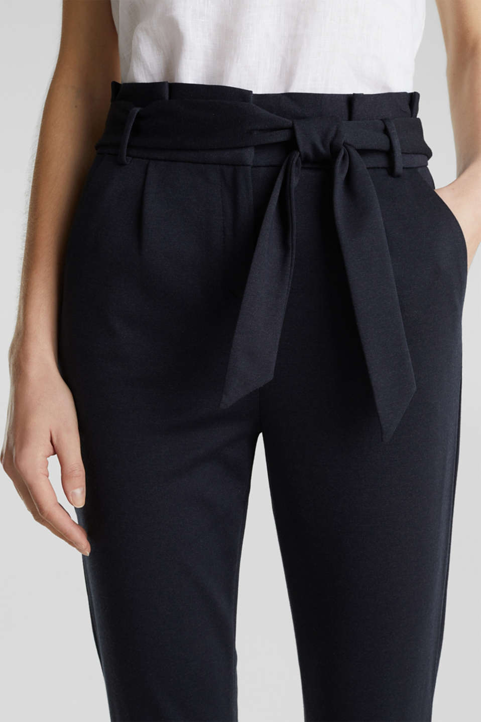 Melange trousers with paper bag waistband, NAVY, detail image number 2