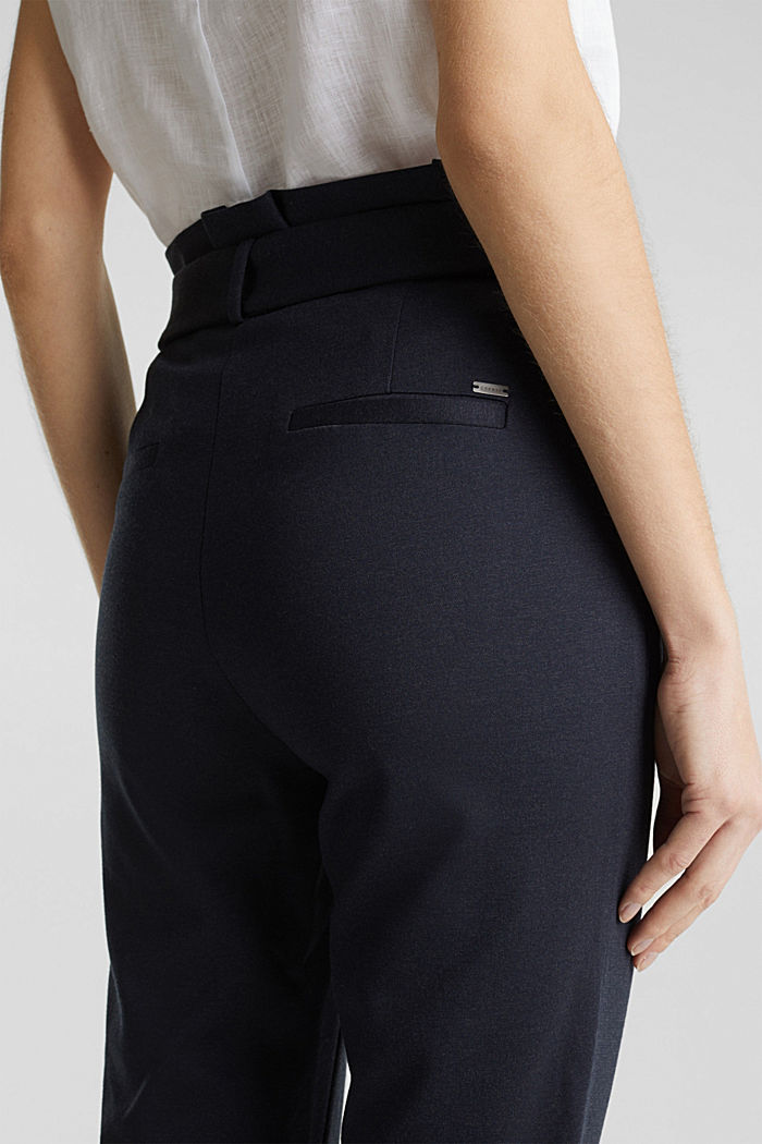 Melange trousers with paper bag waistband, NAVY, detail image number 5