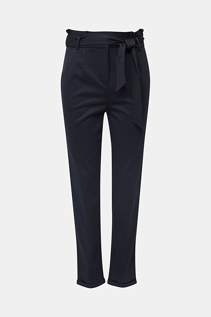 Melange trousers with paper bag waistband