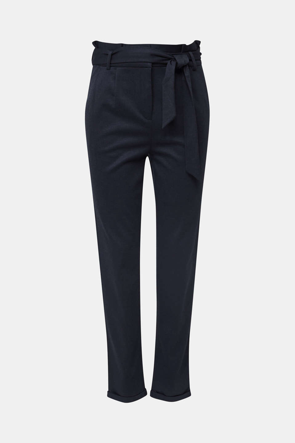 Melange trousers with paper bag waistband, NAVY, detail image number 6