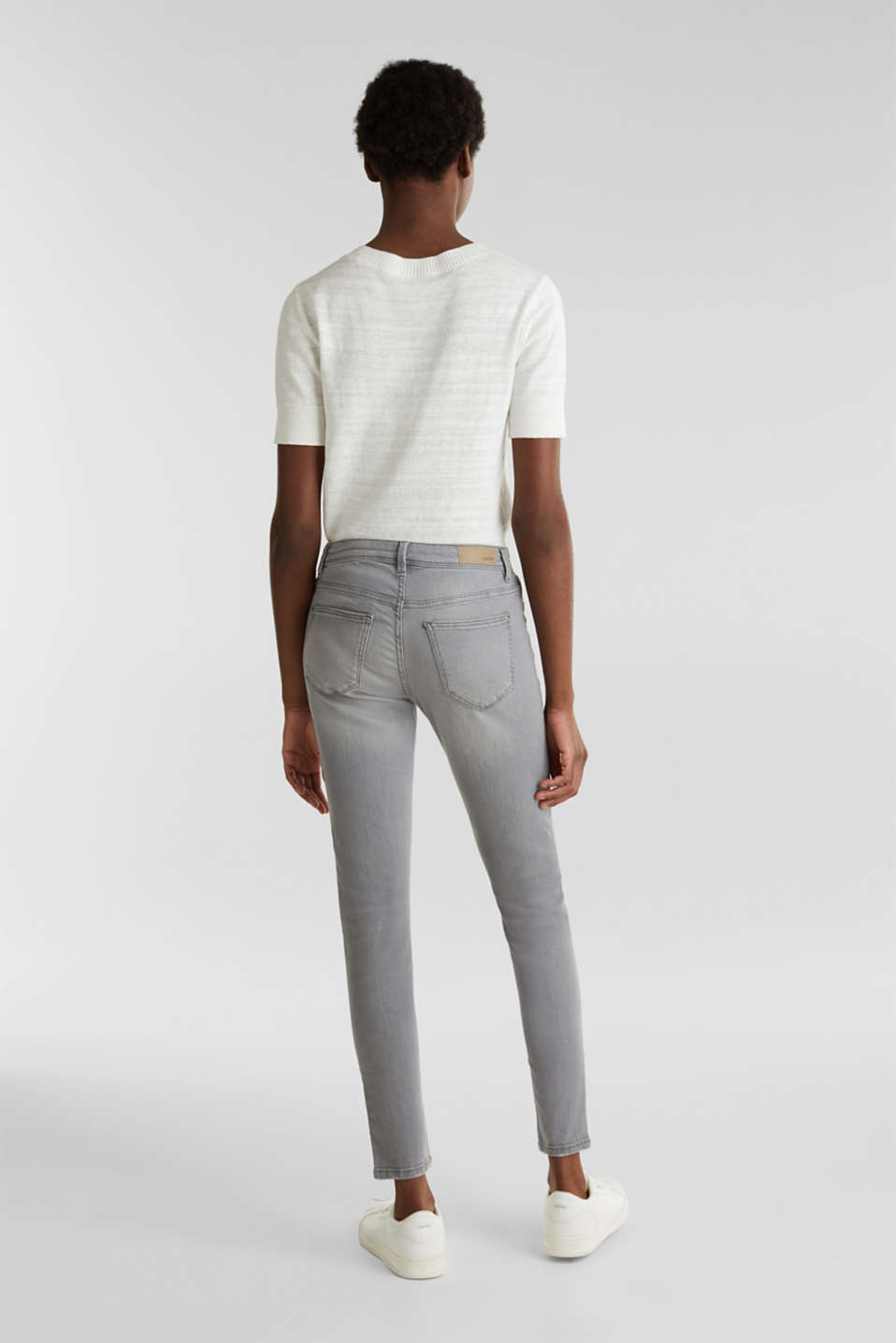 Ankle-length jeans with organic cotton, GREY LIGHT WASH, detail image number 2