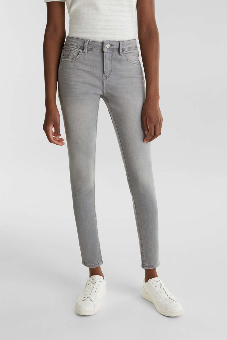 Ankle-length jeans with organic cotton, GREY LIGHT WASH, detail image number 5