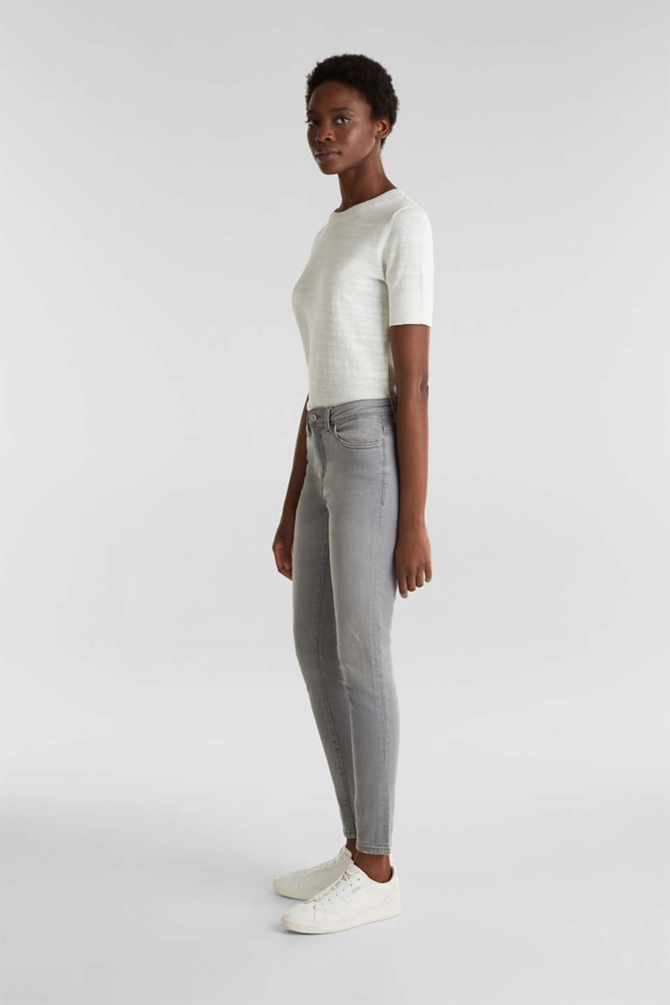 Ankle-length jeans with organic cotton, GREY LIGHT WASH, detail image number 1