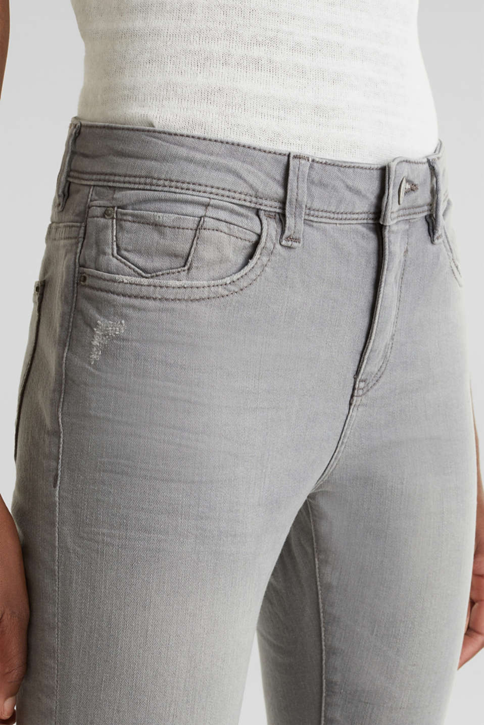 Ankle-length jeans with organic cotton, GREY LIGHT WASH, detail image number 4