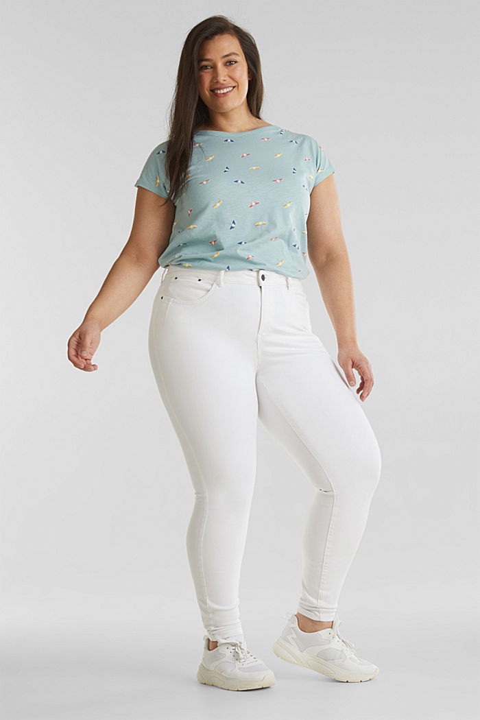 CURVY shaping trousers containing organic cotton, WHITE, detail image number 1