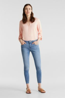 Ankle-length jeans with embroidery, BLUE MEDIUM WASH, detail